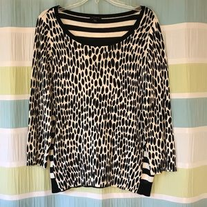 Ann Taylor black and white dot and stripe sweater